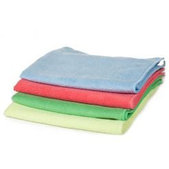 Microfibre cloths in blue, red, green and yellow